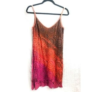 Crochet tie-dye ombré spaghetti strap dress